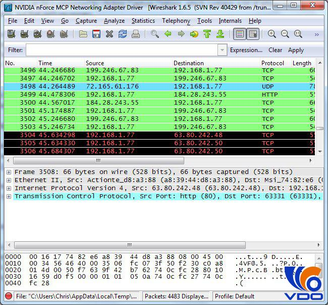 Tại FILE CAPTURING PACKETS